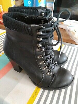 Ladies Black Ankle Boots size 6.5 Lace Up Front F & F