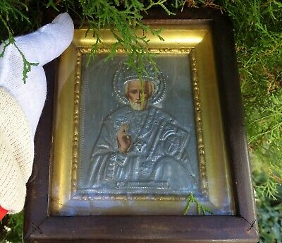 Antique Old Russian Orthodox icon of St. Nicholas In a box