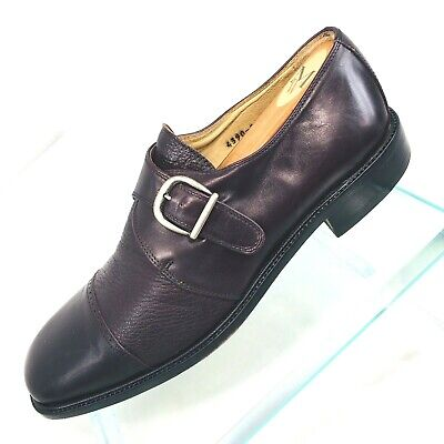 Vito Rufolo Mens Sz 10 M Black Dress Shoes Monk Strap Slip On Loafer Made Italy