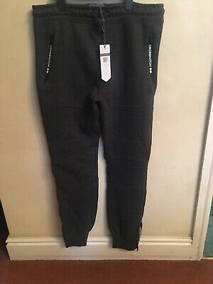 Mens Grey Crosshatch Jogging Bottoms Size Large New With Tags