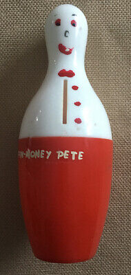 Vintage PIN MONEY PETE Plastic Coin Bank by Spare Time - Bowler's Kitty Bank 6""