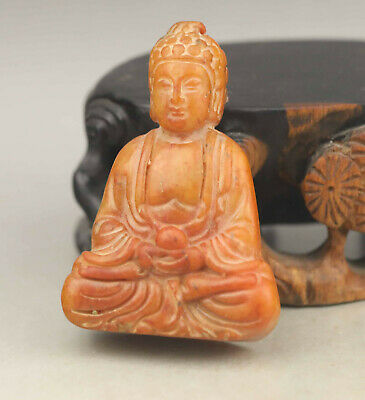 Chinese OLD natural jade hand-carved statue buddha pendant