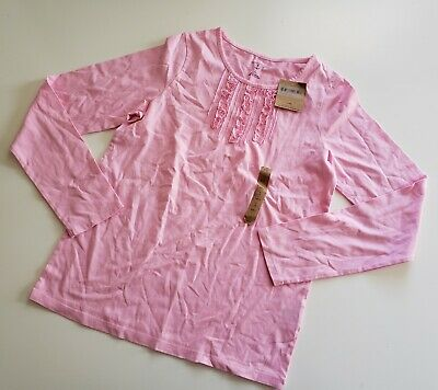 NWT Lands End Girls Large 14 light baby pink ruffle front long sleeve tee