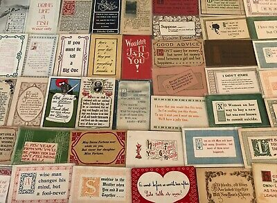 Lot of 50 VINTAGE old GREETING postcards ART CRAFTS~Sayings MOTTO mottos--p628