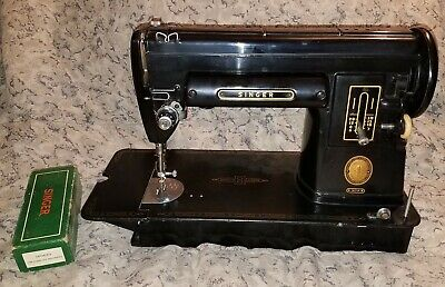 Singer 301A Black Slant Needle Str8 Sewing Machine w/Case+Attachments+Cord+Pedal