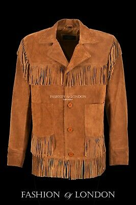 Mens Fringes Leather Jacket Tan Suede Classic Casual Fashion Western Style Top