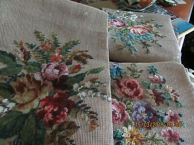 Super col 3 floral HIAWATHA-HEIRLOOM/ 1 PARAGON pre-worked needlepoint canvasses