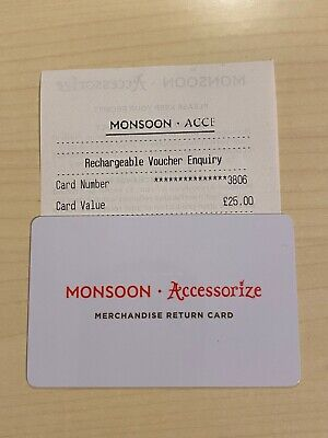 Monsoon Accessorize Return Gift Card £25 Valid For 24 Months