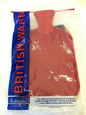 Vintage British Warm Rubber Hot Water Bottle England+Vermont Country Store Cover