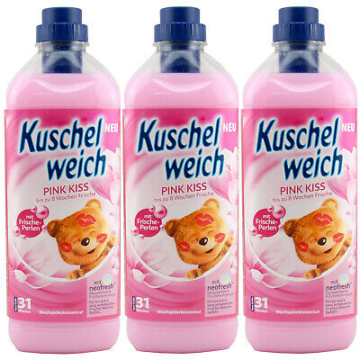 Kuschelweich Fabric Softener Pink Kiss 3 x 1 L for 93 Washes Freshener Beads