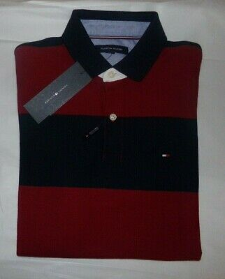 NWT Mens Tommy Hilfiger Performance Pique Polo Shirt~STRIPES~MED