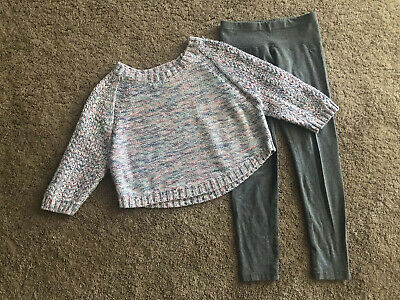 Justice Slim Fit Gray Leggings Pastel Pink Blue Cropped Sweater 8 Girls