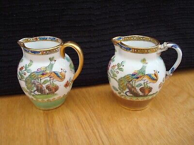 """2 Antique Small Spode Copeland's China Jugs Approx. 3"""" Tall (One With Repair)"""