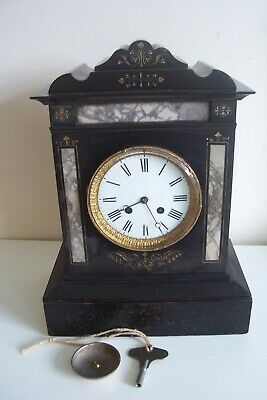 Antique Black Slate French Mantel Clock Working Original 37 cms High Key