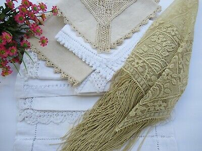 Vintage 10 Pc Cutter Lot Runners & Dresser Scarves Craft / Repair & Use