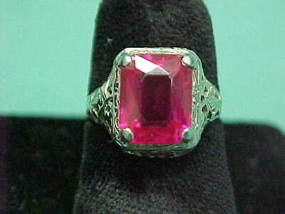 Antique Art Deco 1920's Vintage 14K White Gold Filigree Emerald Cut Ruby Ring