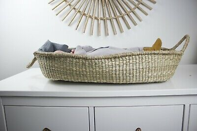 Moses Basket Natural Woven Wheat Grass Boho Baby Changing  Carrier Bassinet