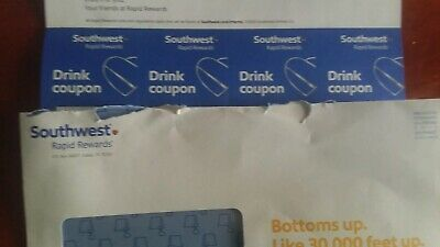 Four (4) SOUTHWEST Drink Coupons / EXPIRE 01/31/2021