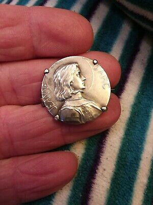 Antique French Sterling 800 Silver Joan Of Arc Medal Brooch Pin