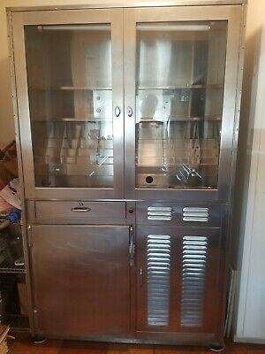 Vintage Large Stainless Steel Medical Pharmacy Cabinet