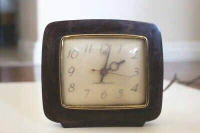 vtg Art Deco Bakelite GE Desk Clock model 3H180 marbleized brown