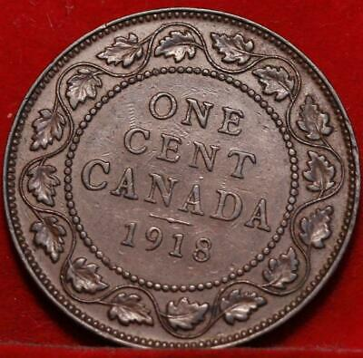 Nice 1918 Canada Large Cent 1c George V You Grade
