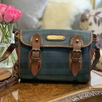 Polo Ralph Lauren Rare Blackwatch Tartan Crossbody / Messenger Designer Bag