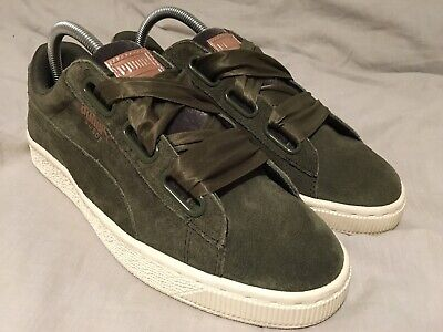 Green/white Puma Suede/velour Size 6 39 Trainers Ribbon Laces womens/girls