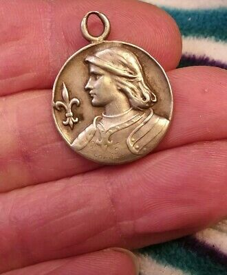 Antique French Sterling 800 Silver Joan Of Arc Medal