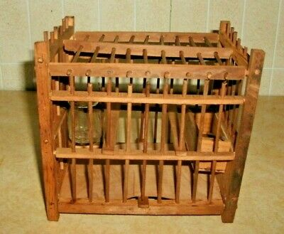 Vintage Mining Miner's Wood Canary Bird Cage Complete Signed Germany