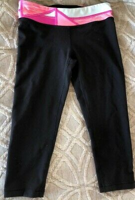 Ivivva Black Cropped Leggings With Colorful Band, Girls Size 8