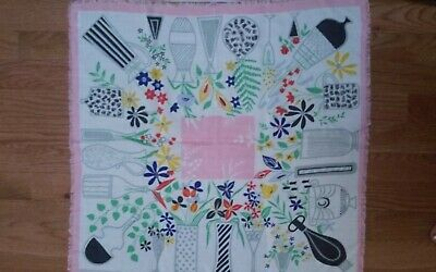 """Miss Pat Vintage Scarf Small Tablecloth Colorful Vases & Flowers 23""""X22.5"""" Rayon"""