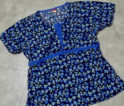 Blue Flowered Scrub top with Elastic Back by Dickies-Lg