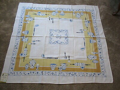 Vintage ML Marlene Linens Chinaware Blue Onion Tablecloth Unused  Paper Label