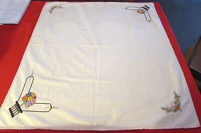 Vintage White Cotton Card Table Cloth Topper Embroidered Flower Basket Corners