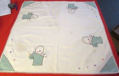 Vintage White Cotton Card Table Cloth Topper Applied Flower Basket Card Pockets
