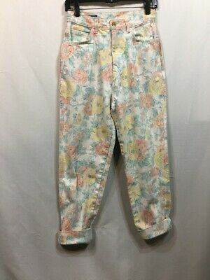 Vintage 80s Jeans Floral Print Stefano Hi Waist Rise Roll Cuffs Retro Faded Wash