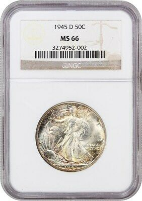 1945-D 50c NGC MS66 - Pretty Toning - Walking Liberty Half Dollar