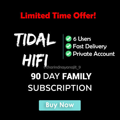 Tidal HiFi - Masters Quality | Family Plan upto 6 Users  | 3 Month Guaranteed!!!