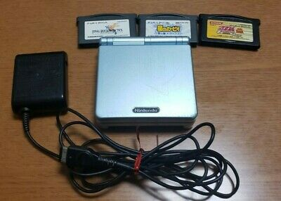Nintendo Game Boy Advance SP Handheld Console - Pearl Blue & 3 games