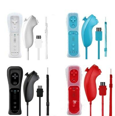 Remote & Nunchuck Controller WITH SILICONE CASE Box For NINTENDO WII 5 Colors/
