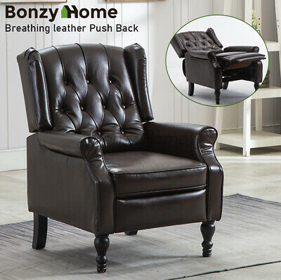 Breathing Leather Recliner Chair Push Back Padded Seat Roll Arm Sofa Reclining