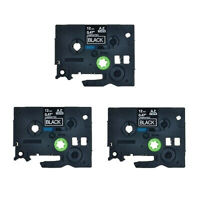 3PK TZe-335 TZ-335 White On Black Label Tape 12mm For Brother P-Touch PT-1600
