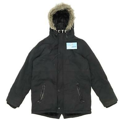 Firetrap Boys Black Heavyweight Zip Up Parka Coat Age 11-12