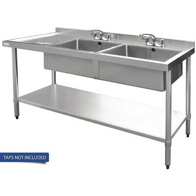 Vogue Double Bowl Sink L/H Drainer - 1500mm 90mm Drain