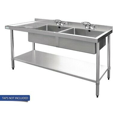 Vogue Double Bowl Sink L/H Drainer - 1800mm 90mm Drain