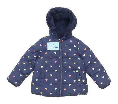 Marks & Spencer Girls Love Heart Blue Heavyweight Zip Up Faux Fur Lined Coat Age