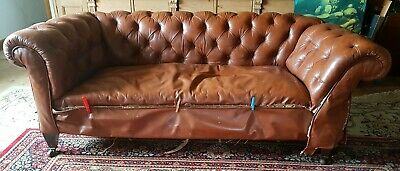 Antique Victorian leather drop arm chesterfield project