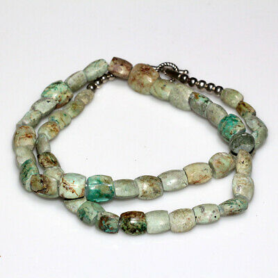 Very Interest Near East Medieval Green Stones Beads Necklace Ca 1200-1500 Ad