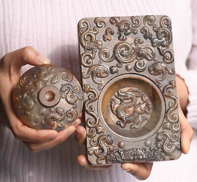 Old Chinese natural jade hand-carved dragon inkstone